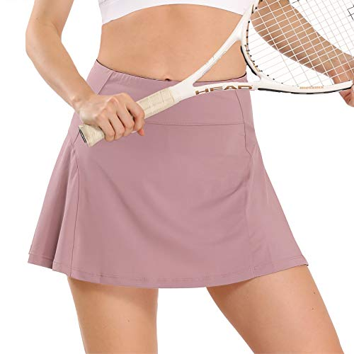 Athletic Tennis Skirt for Women with Pockets Shorts Golf Skorts Running Workout Sports Activewear Skirts (Dusty Pink, S)