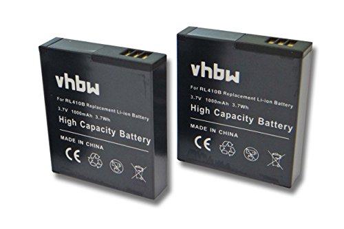 vhbw 2X Li-Ion Akku 1000mAh (3.7V) passend für Kamera Camcorder Video Maginon Action Cam AC-800W