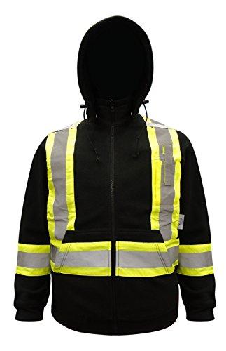 Viking Safety Hi-Vis Fleece Hoodie, Black, Large