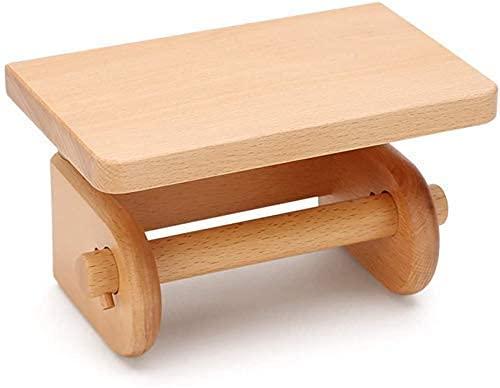 Soporte de papel de madera maciza a prueba de humedad para papel higiénico, estante de madera multifunción, color marrón