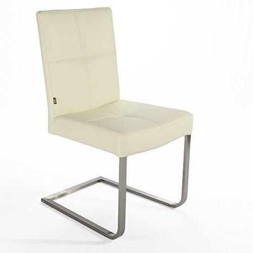 Freischwinger Lederstuhl Libero | Edelstahl Stuhl Leder-Stühle Rindsleder Creme Weiss