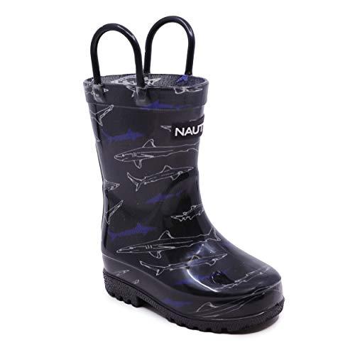 Nautica Kids Rain Boots Waterproof Rubber Boot with Easy-On Handles Boys Girls Toddler Little Kids-Bray Toddler-Black White Shark-12