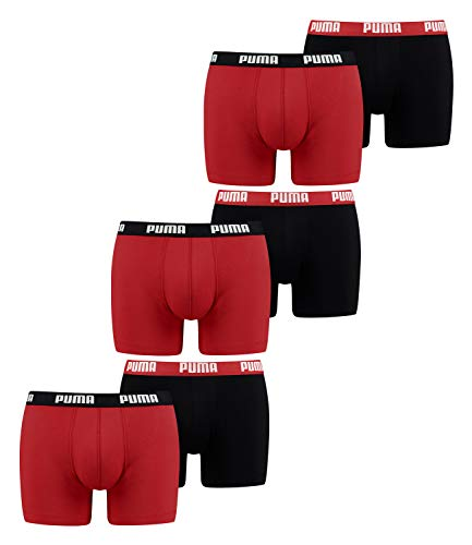 PUMA Herren Boxershorts Unterhosen 521015001 6er Pack (New Red/Black, XXL)