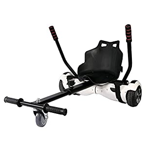 Sfeomi Hoverkart Silla para Hoverboard Electrico Hover Kart Ajustable para Patinete Eléctrico Asiento Kart Adaptarse a 6.5 8 10 Pulgadas Hoverboard Go Kart con Asiento para Niños y Adulto (Negro)