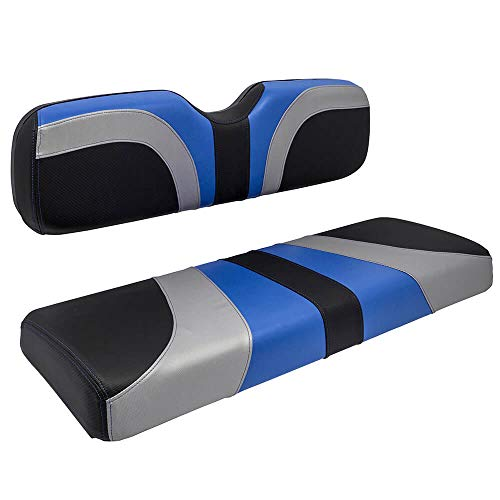 RED DOT Blade Front Seat Covers for Club Car DS (2000-2015) Golf Carts (with one-Piece seat Back) (Alpha Blue/Silver/Carbon Fiber)