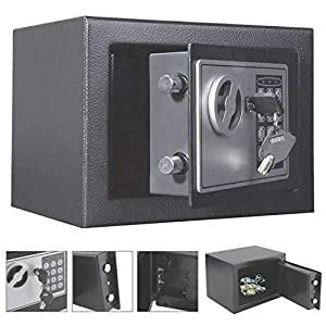 4.6L Digital Safe Electronic Safety Box Steel Safe Lock Box Documents Safety Case Wall Floor Anchoring Design Cabinet Security Cash Money Office Home With 2 Keys(Black)