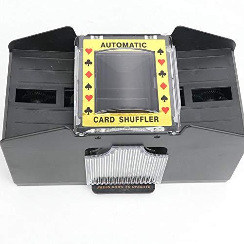 WAHHW Mélangeur de Cartes à Jouer Automatique, Machine de mélangeur de Cartes Automatique à capacité de Deux étages, fonctionnant sur Batterie, adapté aux Cartes à Jouer Bridge Poker,4 Pairs