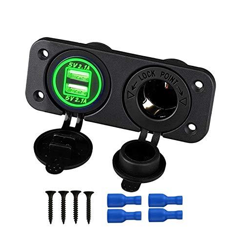 HUAZHUANG-Home 12V Marine USB Outlet Socket Panel 2 en 1 Socket de Encendedor de Cigarrillos 4.2A Puertos USB duales Cargador Impermeable Ajuste para Auto Motocicleta ATV (Color Name : Green Set)