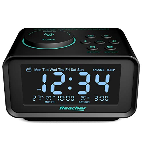 Reacher Radio Reloj Despertador con Alarma Dual, Radio FM Digital Pantalla LCD Regulable y Termómetro de Interior, Función Snooze, Dual Puerto de Carga USB para teléfonos Inteligentes y tabletas