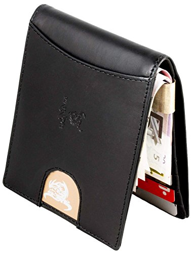 MATADOR Herren Geldbörse Geldklammer RFID Leder Schwarz