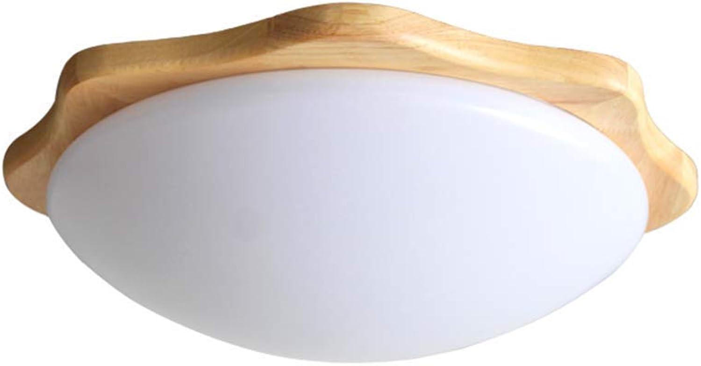 BDYJY 24W LED Deckenleuchte, runde Acryl-Deckenleuchte aus massivem Holz Praktische Fernbedienung zum Dimmen der Deckenleuchte Nordic Log Restaurant Schlafzimmer Balkon Gang Deckenleuchte Durchmesser