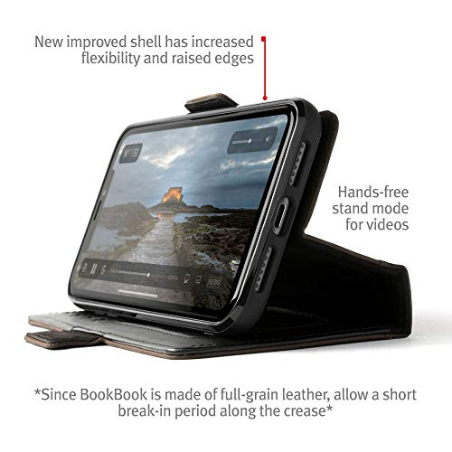 3-in-1 Leather Wallet Case with Display Stand and Removable Magnetic Shell Black Twelve South BookBook for iPhone 12 and 12 Pro