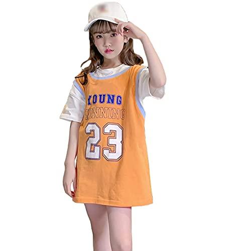 FASHIONN Vestido para niñas Ropa de Baloncesto Casual Transpirable seco rápido Cuello Redondo Chaleco (100 cm-160cm) orange-110cm