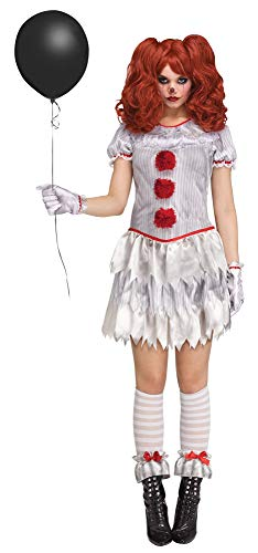 shoperama 4-teiliges Halloween Damen-Kostüm Carnevil Clown Kleid Strümpfe Handschuhe Manschetten Horror, Größe:L