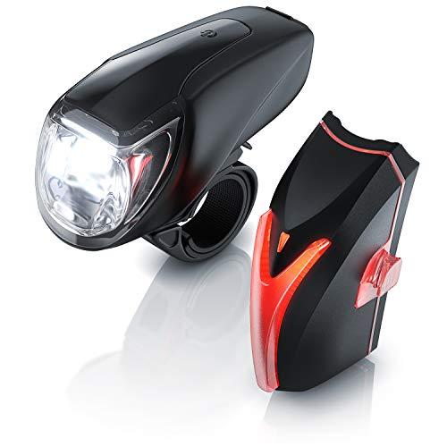 StVZO LED Fahrradbeleuchtung Set mit Akku - Fahrradlampen Set - Vorderlicht und Rücklicht - zugelassen nach StVZO - Fahrradlicht mit Schnellbefestigung - Fahrradlicht Fahrradlampe Fahrradleuchte