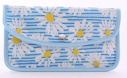 Moogambi Porta mascarillas Tela Lavables Transpirable Bolsa Estuche Funda Tela Guardar mascarilla Organizador Bolso Caja Almacenamiento (22x1x12,5 cm/Margaritas-Azul)