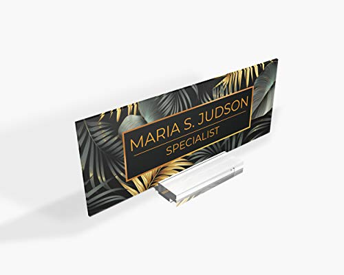 Desk Name Plate, Modern Graduation Gift for Her Name Badge Name Tag Nameplate Name Sign Desk Name Sign Tropical Gold Floral Flowers