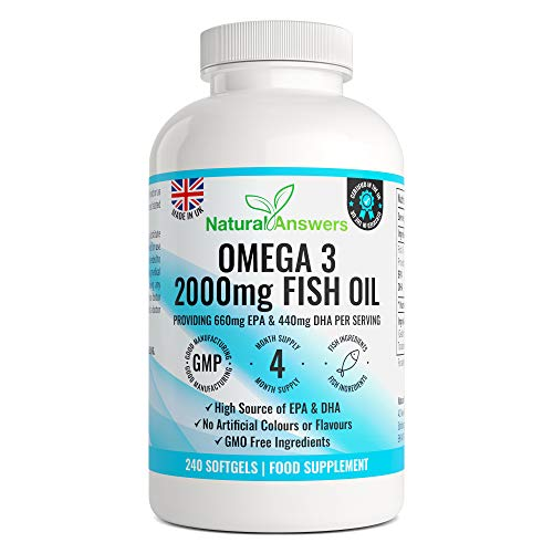 Omega 3 Pure Fish Oil 2000mg – 660mg EPA & 440mg DHA per Daily Serving – 240 Softgel Capsules – 4 Months Supply – for Maintenance of Normal Heart and Brain Function – Made in The UK