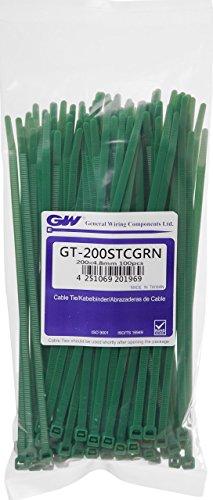 GW Kabelbinder-Technik Kabelbinder 200 x 4,8 mm, 100 Stück, grün, GT-200STCGRN