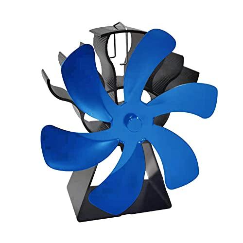 Erthree Kaminventilator für Holzofen, wärmebetriebener Holzofen, umweltfreundliches Aluminium für Holzofen, Gasherd, Pelletofen, leiser Betrieb (blau)