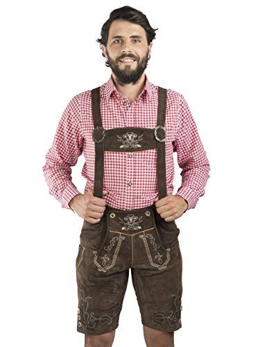 Herren Lederhose Bergfest Vintage kurz - Schöneberger Trachten Lederhosen Oktoberfest Trachtenhose (50, Braun)