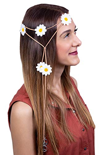 Marco Porta 70s Hippie Flower Power Theme Party Outfit Accessory Hair Leather Band