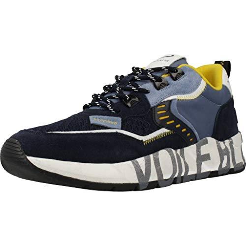 VOILE BLANCHE Art Club01 Sneaker Uomo Comoda in Tessuto e Pelle (Blu, Numeric_43)