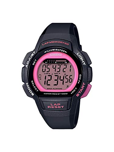 Casio Women's Runner Quartz Sport Watch with Resin Strap, Black, 18.6 (Model: LWS-1000H-4AVCF)
