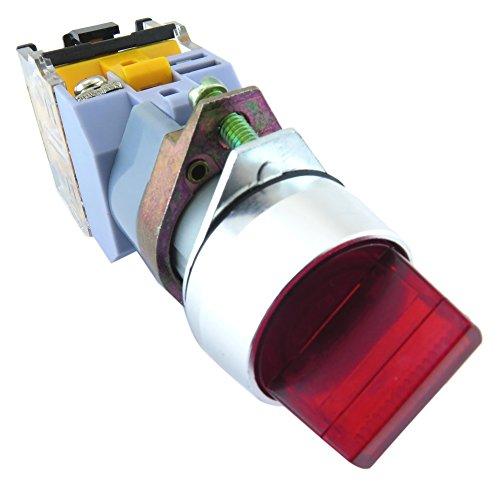 YuCo YC-SS22XPMA-I2R-1 Illuminated Selector Switch, Red
