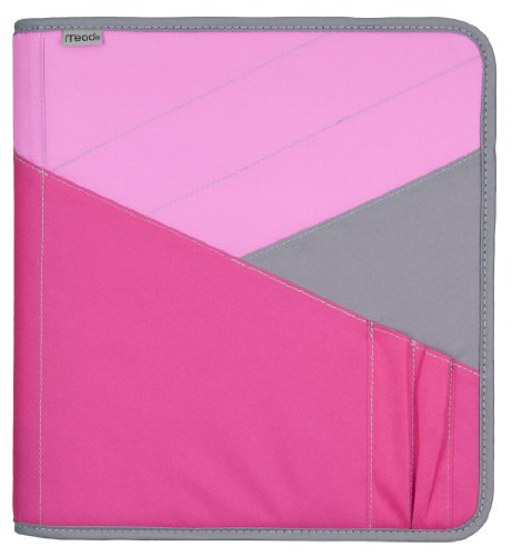 Mead Zipper Binder with Expanding File, 3 Ring Binder, 1-1/2', Pink (72200)