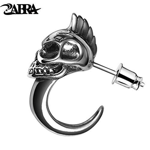 MUATE 925 Sterling Silber Schädel Stud Herren Ohrringe Vintage Schwarz Ohrring Männer Punk Skeleton Ohrstecker Für Männer Biker Schmuck 1 stücke