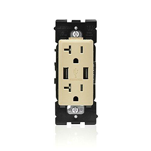 Leviton RUAA2-DT Renu USB Charger/Tamper-Resistant Duplex Outlet, 20A-125VAC, Dapper Tan