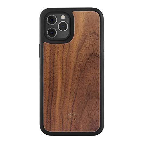 Woodcessories - Bumper Hülle kompatibel mit iPhone 12 Hülle Holz, iPhone 12 Pro Hülle Holz Walnuss