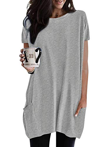 BLENCOT Maglietta Larga Donna Maglia Lunga Estiva Donna Estate Maglietta Maniche Corte Donna Camicia Larga Donna Primavera XXL Grigio