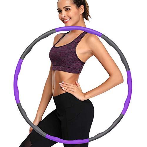 Hula Hoop Reifen, Fitness Hula Hoop zur Gewichtsreduktion und Massage, 6-8 Segmente Abnehmbarer Hoola Hoop für Erwachsene & Kinder Lila