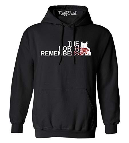 NuffSaid The North Remembers Towers Logo GoT Thones Hoodie – Unisex Sweatshirt (Large, Black)