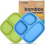 GET FRESH Bambus Kinder Geteilte Teller - 2 Stück Bambus Geteilte Kindergeschirr Set BPA frei - WiederverwendbaresBambusfaser Kindergerichte Teller - Blau/Grün Bamboo Kids Divided Plates