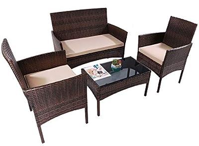 SMUGDESK Outdoor Patio Furniture Set, 4 Piece Wicker Rattan Chair Garden Sofa Couch Conversation Sets for Yard, Pool or Backyard