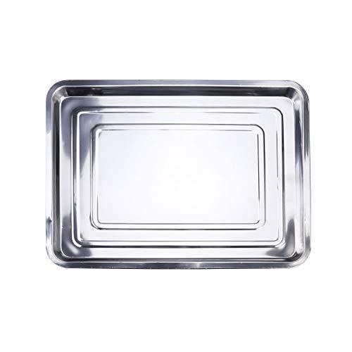 DOITOOL Bakplaat Plancha Grillpan Herbruikbaar Roestvrijstalen Droogbakje Antiaanbaklaag Braadpan Voor Thuis Keuken Barbecue 45X35x2cm