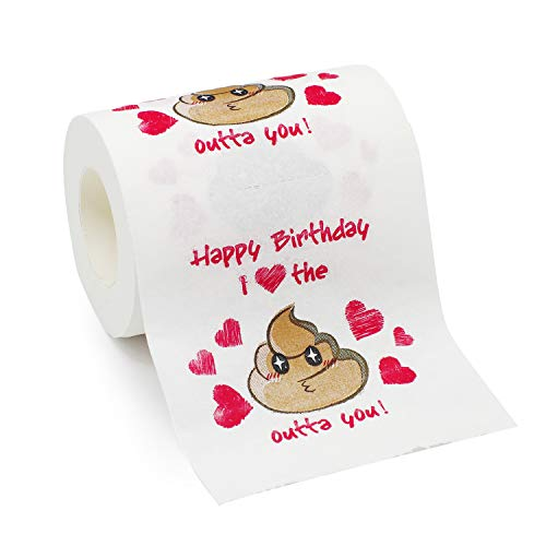 Bravo Sport Happy Birthday Novelty Toilet Paper, Funny Birthday Gag Gift for Him or Her, Romantic Poop Emoji Mens Birthday Gifts, I Love The Poop Outta You