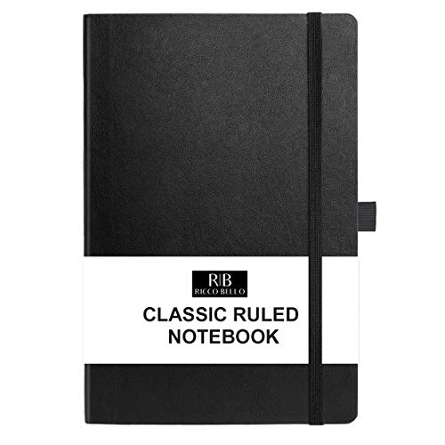 RICCO BELLO College Ruled Hardcover Lined Lay Flat Journal Notebook - Vegan Leather, Elastic Closure, Pen Loop, Bookmark, Inner Pocket, 192 Lined Pages, 5.7 x 8.4 inches (Black)