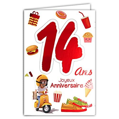 Afie 69-2114 Carte Joyeux Anniversaire 14 ans Ados Garçon Fille - Scooter Vespa Cadeaux Gteau Cupcake Hamburger Basket