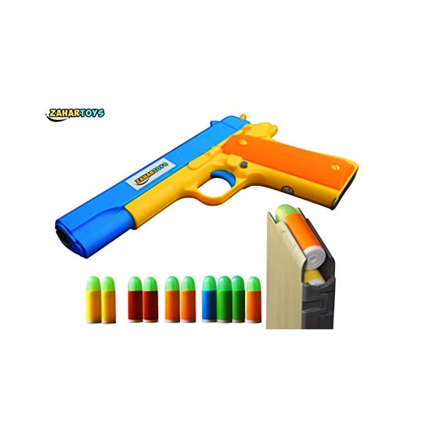 ZAHAR Toys – Realistic Size Toy Gun – Colt 1911 – 10 Colorful Soft Bullets – Ejecting Magazine – Slide Action Barrel – Training, Cosplay, Play – Toy Guns M1911 – Pistol with Soft Bullets