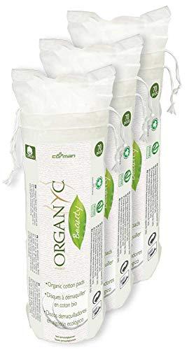 Organyc Wattepads aus 100% biologischer Baumwolle in biologisch abbaubarer Verpackung, 4er Pack (4 x 70 Stück)