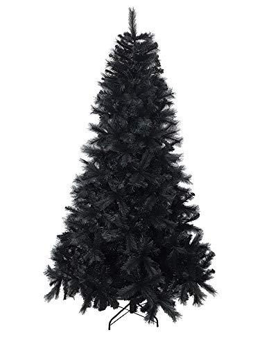 Totò Piccinni Albero di Natale BARDONECCHIA, FOLTO di QUALITA', Realistico, Due Tipi di Rami Ago e Foglie, Facile Montaggio a Ombrello, PVC, Base Metallica, Ignifugo (Colore Nero, 240)