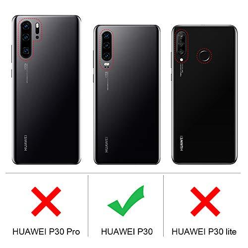 Whew Hülle Kompatibel Huawei P30, Soft TPU Schutzhülle Case - Schutz vor Kratzer, Staub und Scratch- Stoßfest Silikon Schwarz Matte Handyhülle Cover Kompatibel Huawei P30 - 6