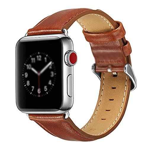 Pulsera de Correa, para el Reloj de Apple 38 mm 40 mm 42mm 44mm, Correa de reemplazo de Cuero Genuino para iWatch Series 6 SE 5 4 3 2 1 (Band Color : Brown, Band Width : For 42MM and 44MM)