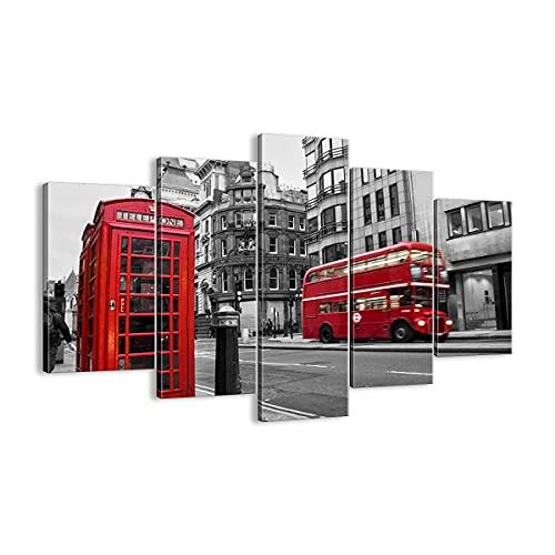 Cuadro sobre lienzo - Impresión de Imagen - Autobús Teléfono Calle - 150x100cm - Imagen Impresión - Cuadros Decoracion - Impresión en lienzo - Cuadros Modernos - Lienzo Decorativo - EA150x100-2674