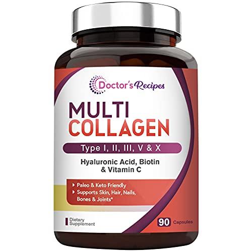 Multi Collagen Peptide Capsules, Type I II III V X, Paleo & Keto Friendly, Grass-Finished Cattle, Wild-Caught Fish, Pasture-Raised Chicken & Eggshell, Plus Hyaluronic Acid Biotin Vitamin C, Unflavored
