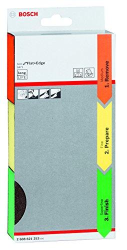 Bosch Professional 3tlg. Schleifschwamm S471 Best for Flat and Edge Set (Mittel (Orange) / Fein (Gelb) / Superfein (Grün), Zubehör Handschleifen)